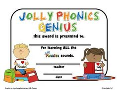 Jolly Phonics Award Certificates - Comes in both colorful polka dot background…