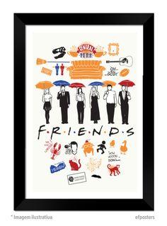 Poster Friends | Moldura preta ou branca - R$55,00 | #efposters #efposter_oficial #posters #quadros #posterpersonalizado #posterfriends #friends