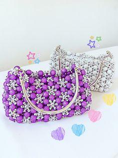 purple handmade party handbag