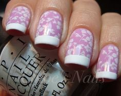 """""""OPI ~ Panda-monium Pink I then stamped my nails using the Bundle Monster plateBM 221 , and Konad's special white polish. I added a coat of SV, and when that was 98% dry, I taped my tips off, and used OPI Alpine Snow Matte."""""""