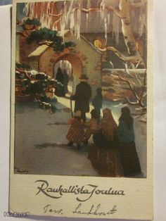 Martta Wendelin Antique Christmas, Christmas Past, Christmas Cards, Martini, Finland, Illustrators, Postcards, Antiques, Painting