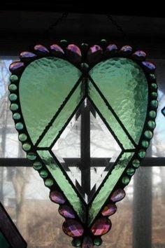 ~ Green & Purple Stain Glass Heart ~ by maritza