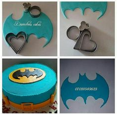 Batman cutouts from heart cookie cutters Batman cutouts from h. - Batman cutouts from heart cookie cutters Batman cutouts from heart cookie cutters - Cake Decorating Techniques, Cake Decorating Tutorials, Cookie Decorating, Cake Decorating With Fondant, Fondant Toppers, Fondant Cakes, Cupcake Cakes, Heart Cookie Cutter, Heart Cookies