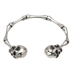 INOX 316L Stainless Steel Bangle Bracelet With Bone Links And A Skull On Each End  275 Diameter ** Want to know more, click on the image.