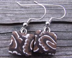Unique Brown and White Polymer Clay Earrings  by clayandbeads4me, $5.00