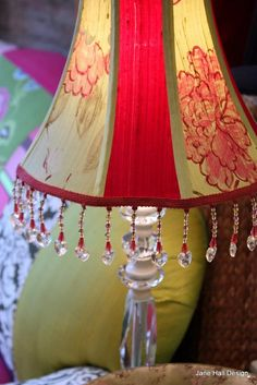 Custom made lighting can be ordered at Jane Hall Design in any colour and shape.Custom made lampshades and hanging fabric pendants sell between 200 and 400 depending on shape and fabric Painted Dining Chairs, Hand Painted Chairs, Hall Furniture, Painted Furniture, Old Lamp Shades, Hanging Fabric, Hall Design, Vintage Chairs, Recycled Furniture