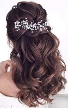 gorgeous half up half down hairstyles that perfect for a rustic wedding 9 ~. , - gorgeous half up half down hairstyles that perfect for a rustic wedding 9 ~… , gorgeous half up half down hairstyles that perfect for a rustic wedding 9 ~… , Half Up Hair Do, Wedding Hairstyles Half Up Half Down, Wedding Hairstyles For Long Hair, Wedding Hair And Makeup, Bride Hairstyles, Hair Makeup, Gorgeous Hairstyles, Bridal Half Up Half Down, Hairstyles For Dresses