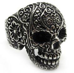 Stainless Steel Cool Hot Flower Skull Biker Silver Ring