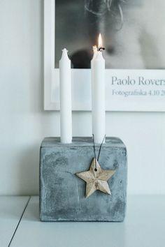 Kleiner Adventskranz aus Beton mit Sternchen als Deko