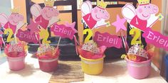 Diy Peppa pig centerpieces less than 10$