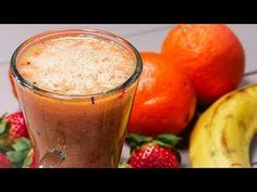 Smoothie cu căpșuni și kiwi - YouTube Moscow Mule Mugs, Smoothies, Pudding, Vegan, Tableware, Youtube, Desserts, Food, Banana