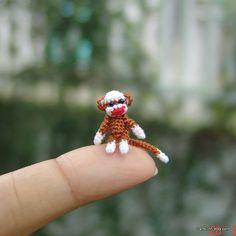 dollhouse miniature baby sock monkey – micro crochet amigurumi animal – inch - Decor Tips 2019 Crochet Monkey, Crochet Snowman, Crochet Elephant, Baby Elephant, Crochet Parrot, Bunny Art, Mini Things, Baby Socks, Cute Snowman