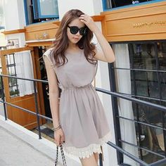 Buy 'REDOPIN – Chiffon Sleeveless Lace-Trim Dress' with Free International Shipping at YesStyle.com. Browse and shop for thousands of Asian fashion items from South Korea and more!