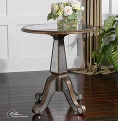 Tuscan Traditional Unique Gold Wood Antique Mirrored Eraman Round Accent Table