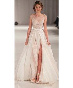Sheer Chiffon Beach Wedding Dresses High Slit A Line Cap Sleeves Beaded Bridal Gowns Formal Wedding Dress
