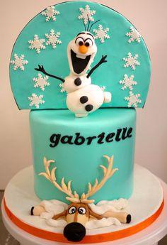 Double sided cake Totoro Frozen
