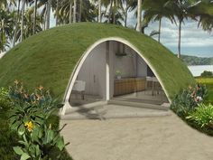 Domed houses made of inflated concrete - green roof Green Building, Building A House, Natural Building, Building Code, Casa Bunker, Dome House, Earth Homes, Geodesic Dome, Earthship