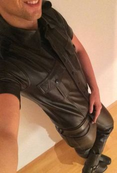 Men in hot boots or cool leather and some piercing Shirt Jacket, Shirt Dress, Leather Fashion, Mens Fashion, Leather Trousers, Clothing Items, New Look, Hot Guys, Boots