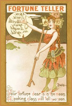Vintage fortune teller postcard card~hold to the mirror for fortune
