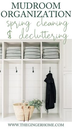 MUDROOM ORGANIZATION - Spring Cleaning & Decluttering  How to tidy and organize your small mudroom to make it functional and practical for your family.   How to organize kids coats and backpacks in the mudroom / how to organize a small mudroom / how to organize your entryway / mudroom organization ideas DIY / Mudroom built-ins organization / mudroom decluttering and purging / mudroom design ideas / realistic mudroom ideas