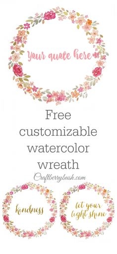 Some Free Watercolor Flower Clipart for all You Internet Friends Today! Hope you Enjoy the Watercolor Flower Goondess. Free Watercolor Flowers, Wreath Watercolor, Floral Watercolor, Printable Labels, Printable Wall Art, Free Printables, Vintage Diy, Free Graphics, Home And Deco