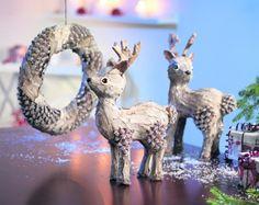 Ozdoby i dekoracje świąteczne na Boże Narodzenie. Ręcznie robione renifery