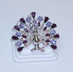 Amethyst purple rhinestone peacock brooch by BuyMyVintageLuv