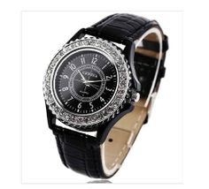 Geneva Ladies Watch with Rhinestone and CrocEmbossed Leather Band | WatchCorridor
