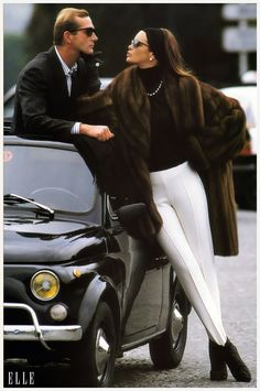 1987 Elle Magazine Model and Fiat 500
