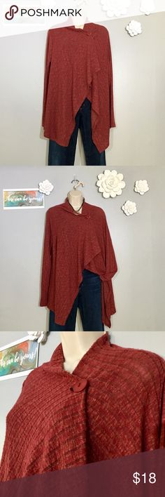 "🛍️Bobeau Pointelle one button cardigan SZ M Beautiful one button draped Bobeau Cardigan. Sleeve length lying flat approx 24"". Longest point on side 32"". Super soft, gorgeous rust color. Never worn, like new! bobeau Sweaters"