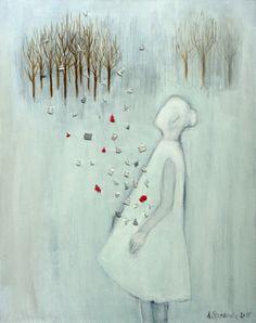 "acrylic,embroider on canvas, ""Woods"" http://annastankiewicz.blogspot.pt/"