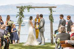 Lakefront Lake Tahoe wedding at @westshorecafe from @ofdevents & @johnstonephotos