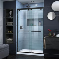 DreamLine Encore 34 in. D x 48 in. W x in. H Semi-Frameless Sliding Shower Door in Satin Black with Center Drain Black - The Home Depot DreamLine Encore 34 in. D x 48 in. W x in. H Semi-Frameless Sliding Shower Door in Bathroom Shower Doors, Shower Enclosure, Shower Stall, Alcove Shower Kits, Dreamline, Shower Base, Door Installation, Frameless Bypass Shower Doors, Bathroom Shower