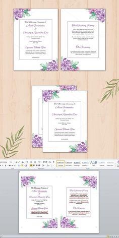 Wedding Fan Program Template. Watercolor Flowers. $7.00