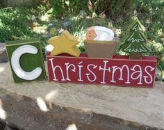 Christmas blocks with star, baby Jesus, and tree