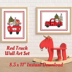 This 8.5 inch by 11 inches digital downloadable wall art wet is ready for you to print off, add to frames from your local dollar store and let you decorate for the holiday for just pennies! It is trendy with the farmhouse style red truck, red checked buffalo print, and Santa! With one horizontal Christmas Wall Art, Whimsical Christmas, Santa Christmas, Christmas Signs, Buffalo Print, Buffalo Check, Operation Christmas, Wall Art Sets, Pennies