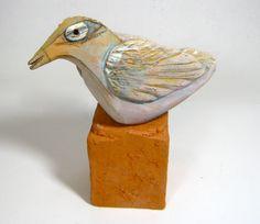 Bird Sculpture, Clay, Ceramic, Beauty Bird Dreaming Beauty