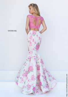 Sherri Hill 50435 Lace Crop Top Floral Print Prom Dress