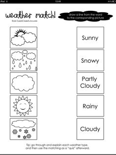 Weather word and picture match