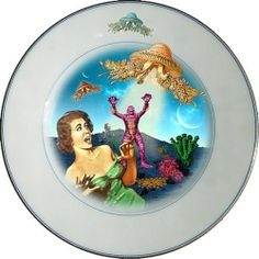 Screaming Plate - Altered Antique Porcelain Plate - Collectors Item - Art