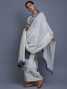 Off White Navy Hand Block Printed Cotton Dupatta