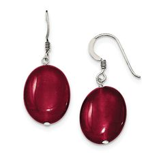Sterling Silver Red Jade Dangle Earrings QE6321