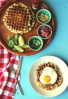 Corn and Scallion Belgian Waffles | The Sugar Hit
