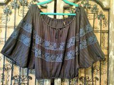 FREE PEOPLE Black Short Dolman Sleeve Lace Detail Peasant Boho Shirt Top SZ M #FreePeople #PeasantBoho #Any