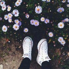 Imagem de flowers, converse, and shoes Converse Outfits, Sneaker Outfits, Converse Sneaker, Puma Sneaker, Converse Shoes, Converse Tumblr, Converse Photography, Tumblr Photography, Photography Poses