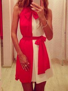 vestido bicolor sin manga cordones gasa