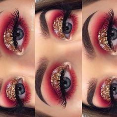✨ EYES: Rose Gold Palette & no name gold glitter Dark Eye Makeup, Dramatic Eye Makeup, Eye Makeup Art, Colorful Eye Makeup, Eye Makeup Tips, Makeup For Brown Eyes, Glitter Brows, Glitter Hair, Glitter Makeup