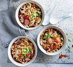 Cook a Chinese-inspired chicken noodle soup in just over half-an-hour for a hearty dinner. Using pickled ginger and leftover roast chicken makes it special Bbc Good Food Recipes, Soup Recipes, Protein Recipes, Yummy Recipes, Cooking Recipes, Chinese Chicken Noodle Soup, Cabbage And Noodles, Spicy Peanut Sauce, Leftover Chicken Recipes