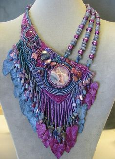 I don't like the beaded strands used here, but love the idea of using either chain or a different kind of beads. Jamie Cloud Eakin Bead Studio