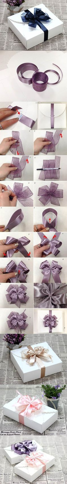 DIY Ribbon Bow for Gift Box Packaging | iCreativeIdeas.com LIKE Us on Facebook == https://www.facebook.com/icreativeideas